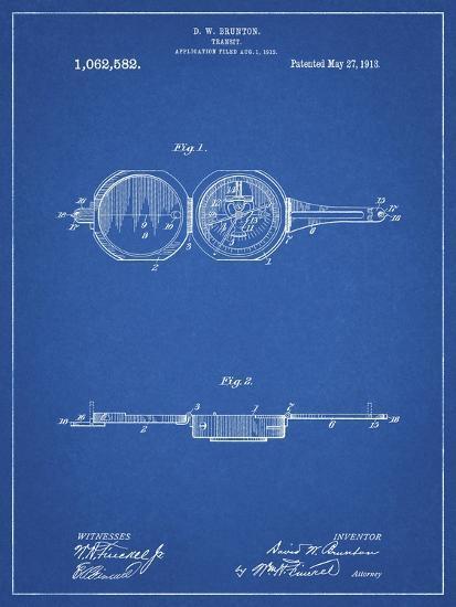 PP992-Blueprint Pocket Transit Compass 1919 Patent Poster-Cole Borders-Giclee Print