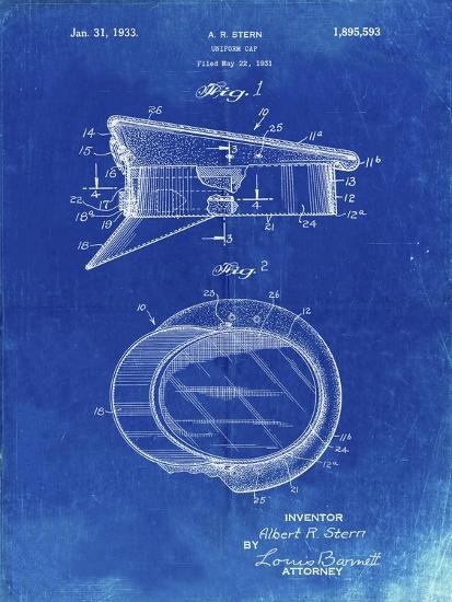 PP993-Faded Blueprint Police Hat 1933 Patent Poster-Cole Borders-Giclee Print