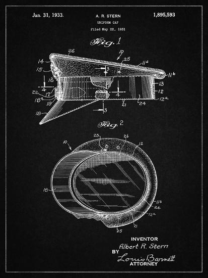 PP993-Vintage Black Police Hat 1933 Patent Poster-Cole Borders-Giclee Print