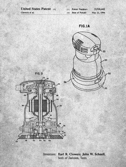 PP998-Slate Porter Cable Palm Grip Sander Patent Poster-Cole Borders-Giclee Print