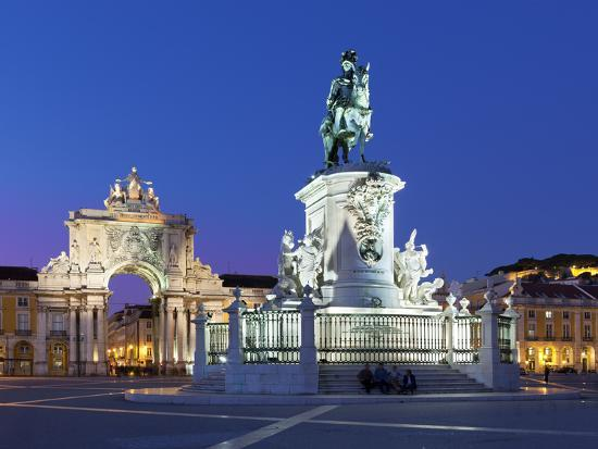 Praca Do Comercio with Equestrian Statue of Dom Jose and Arco Da Rua Augusta, Lisbon, Portugal-Stuart Black-Photographic Print