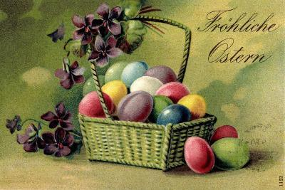 Präge Ak, Korb Mit Ostereiern Und Blumen--Giclee Print
