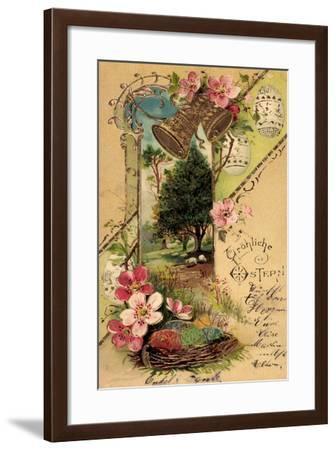 Präge Frohe Ostern, Glocken, Ostereier, Lämmer--Framed Giclee Print