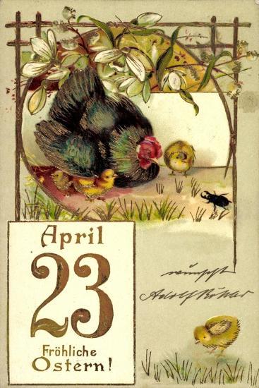 Präge Frohe Ostern, Küken, Huhn, April 23, Kalender--Giclee Print