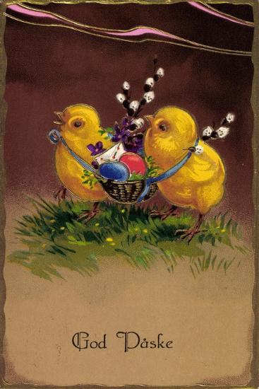 Präge Frohe Ostern, Küken Tragen Ostereier Im Korb--Giclee Print