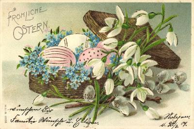Präge Frohe Ostern, Ostereier Im Korb, Blumen--Giclee Print