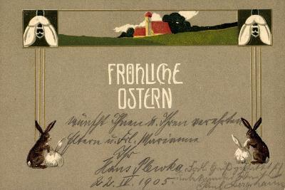 Präge Frohe Ostern, Osterhasen, Feld, Haus, Blumen--Giclee Print