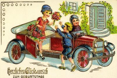 Präge Glückwunsch Geburtstag, Auto, Kind, Blumen--Giclee Print