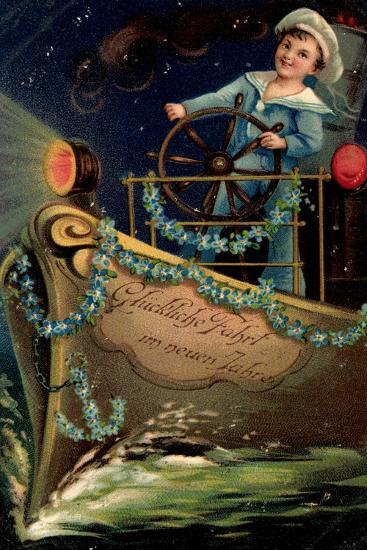 Präge Glückwunsch Neujahr, Matrose, Nacht, Schiff--Giclee Print