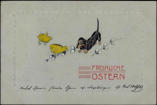 Präge Glückwunsch Ostern, Dackel Mit Küken, Zweige--Giclee Print