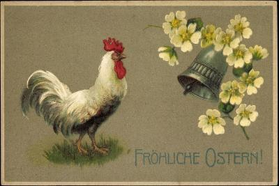 Präge Glückwunsch Ostern, Hahn, Glocke, Blüten--Giclee Print