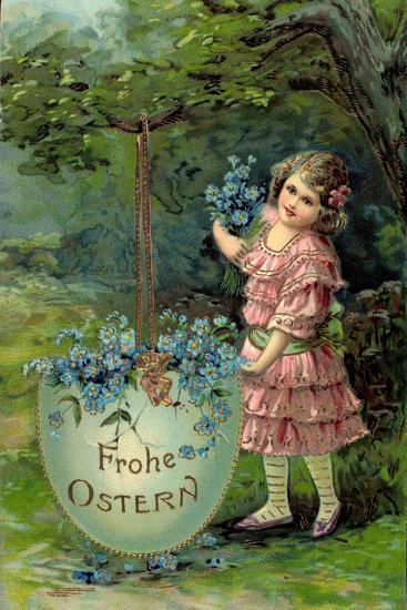 Präge Glückwunsch Ostern, Kind Mit Blumen Und Ei--Giclee Print