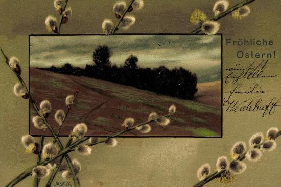 Präge Künstler Mailick Frohe Ostern, Kätzchen, Feld--Giclee Print