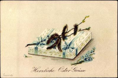 Präge Litho Glückwunsch Ostern, Geschenk, Kätzchen--Giclee Print