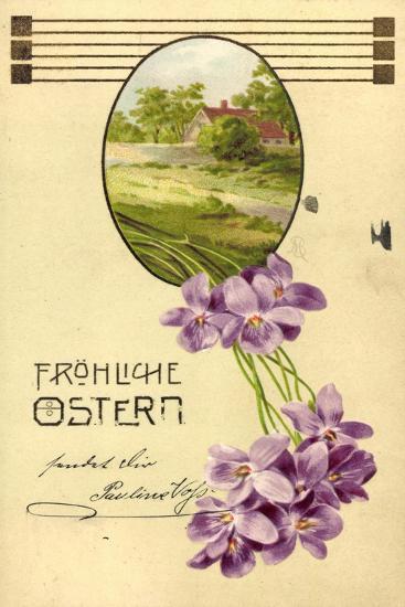 Präge Litho Glückwunsch Ostern, Haus, Bäume, Veilchen--Giclee Print