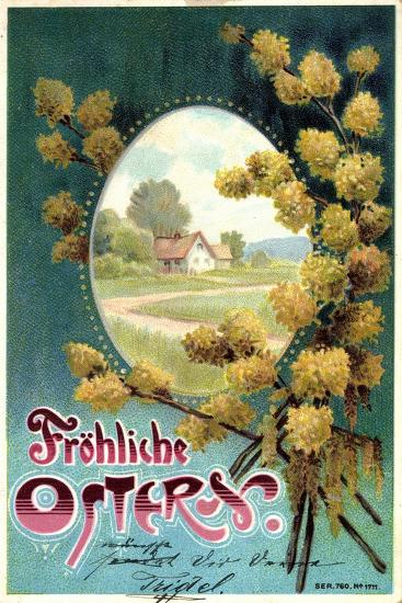Präge Litho Glückwunsch Ostern, Weidenkätzchen, Haus--Giclee Print