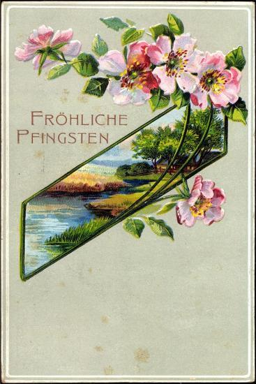 Präge Litho Glückwunsch Pfingsten, Apfelblütenzweig--Giclee Print