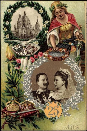 Präge Litho Kaiserpaar, Silberne Hochzeit, Berliner Dom--Giclee Print