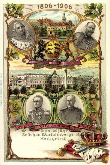 Präge Litho Stuttgart,Adel Württemberg, Schloss, Stadt--Giclee Print