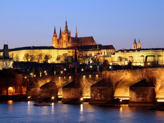 Prague Castle on the Skyline and the Charles Bridge over the River Vltava, UNESCO World Heritage Si-Hans Peter Merten-Photographic Print