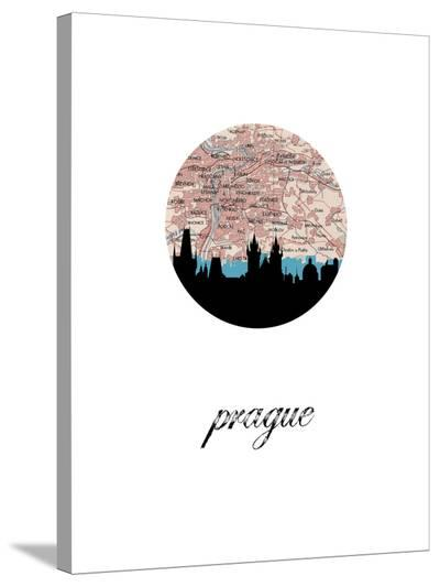 Prague Map Skyline-Paperfinch 0-Stretched Canvas Print