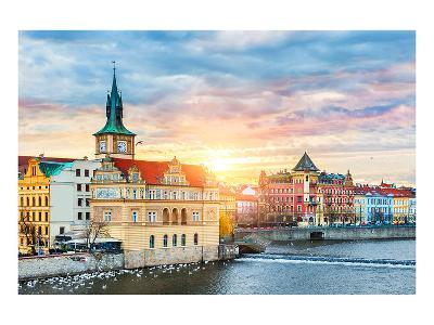 Prague Old Town & Vltava river--Art Print