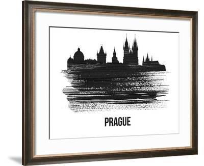 Prague Skyline Brush Stroke - Black II-NaxArt-Framed Art Print
