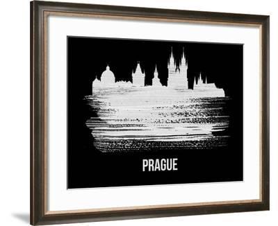 Prague Skyline Brush Stroke - White-NaxArt-Framed Art Print