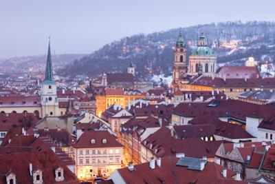 Prague - St. Nicolas Church and Rooftops of Little Quarter in Winter