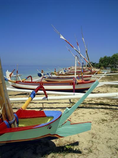 Prahu, Colourful Local Boats, on Sanur Beach, Bali, Indonesia-Robert Harding-Photographic Print