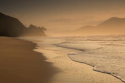 Praia Das Toninhas in Ubatuba at Sunrise, with the Serra Do Mar Mountain Range in the Background-Alex Saberi-Photographic Print