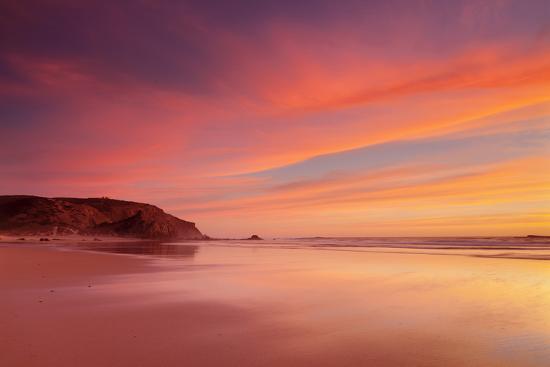 Praia do Amado beach at sunset, Carrapateira, Costa Vicentina, west coast, Algarve, Portugal, Europ-Markus Lange-Photographic Print