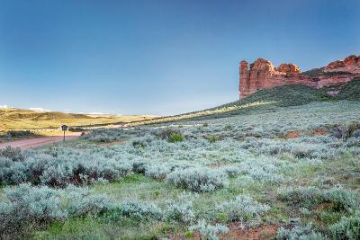 Prairie, Shrubland and Sandstone Rock Formation in Northern Colorado near Wyoming Border - Sand Cre-PixelsAway-Photographic Print