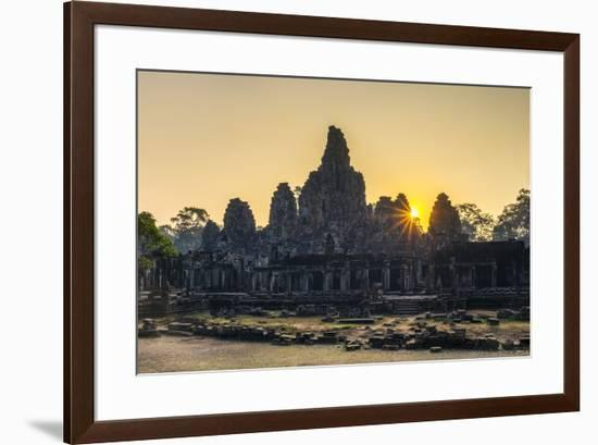 Prasat Bayon temple ruins at sunrise, Angkor Thom, UNESCO World Heritage Site, Siem Reap Province, -Jason Langley-Framed Photographic Print