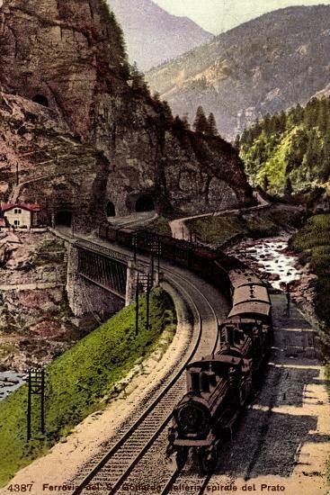 Prato Tessin, Ferrovia Des S. Gottardo, Dampflok--Giclee Print