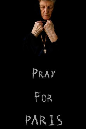 Pray for Paris.An Old Praying Woman in Black-Tolikoff Photography-Photographic Print