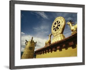 Prayer Wheel, Deer and Wheel of Dharma on the Roof of the Jokhang