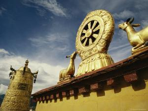 Prayer Wheel, Deer and Wheel of Dharma on the Roof of the Jokhang