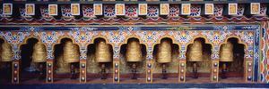Prayer Wheels in a Temple, Chimi Lhakhang, Punakha, Bhutan