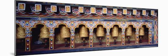 Prayer Wheels in a Temple, Chimi Lhakhang, Punakha, Bhutan--Mounted Photographic Print