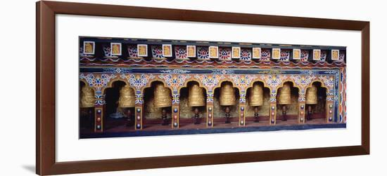 Prayer Wheels in a Temple, Chimi Lhakhang, Punakha, Bhutan-null-Framed Photographic Print