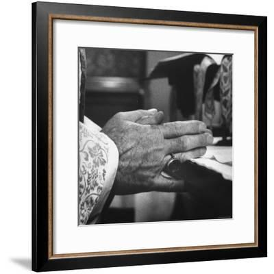 Praying Hands of Monk Churchman Resting on Table During Mass at St. Benedict's Abbey-Gordon Parks-Framed Premium Photographic Print