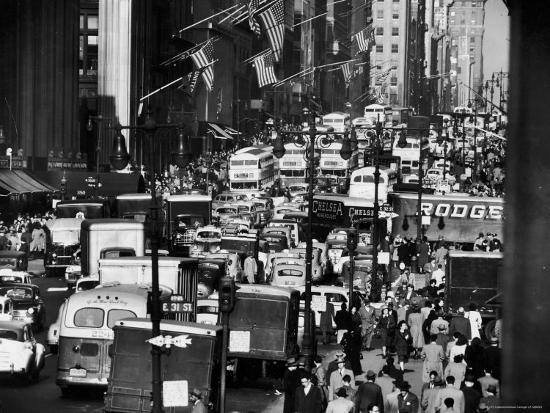 Pre-Christmas Holiday Traffic on 57th Avenue, Teeming with Double Decker Busses, Trucks and Cars-Andreas Feininger-Photographic Print