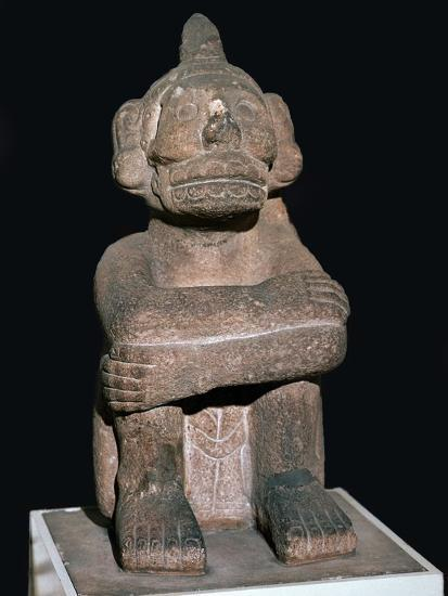 Pre-Columbian pottery statuette of the Mayan god Mictantecuan-Unknown-Giclee Print