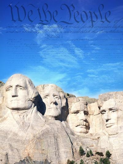 Preamble to US Constitution Above Mount Rushmore-Joseph Sohm-Photographic Print