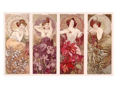 Precious Stones and Flowers-Alphonse Mucha-Giclee Print