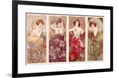 Precious Stones and Flowers-Alphonse Mucha-Framed Giclee Print
