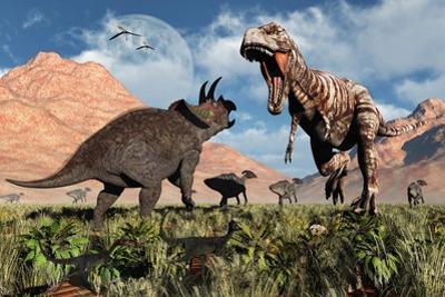 Prehistoric Battle Between a Triceratops and Tyrannosaurus Rex