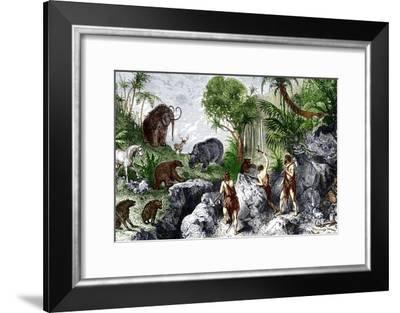 Prehistoric Humans And Animals-Sheila Terry-Framed Photographic Print
