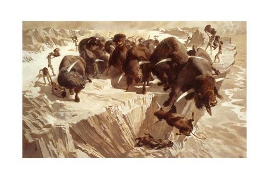 Prehistoric Hunters Stampede Bison over a Cliff-Arthur Lidov-Giclee Print